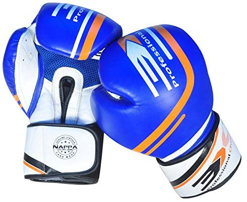 Professional Choice 3X Boxing Gloves for Men, Muay Thai Kick Boxing Leather Padded, Punch Bag Mitt, Fight Sparring MMA UFC Martial Arts Training (Blue X9, 16oz) -