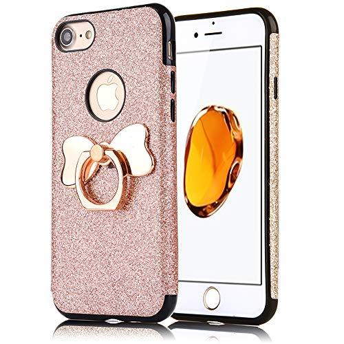 ZCXG Kompatibel Mit Handyhülle iPhone 7 / iPhone 8 Hülle Silikon Glitzer Rose Gold Mädchen Hülle mit Ring Ständer Frau Ultra Slim Weich Hülle Schutzhülle TPU Bumper Case