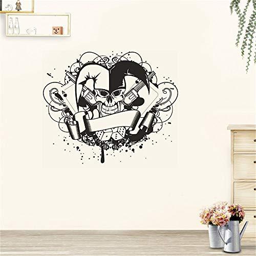 wandaufkleber 3d Wandtattoo Schlafzimmer Skull Joker Dice Poker Pistol Sticker Punk Death Decal Horror Halloween for living room bedroom