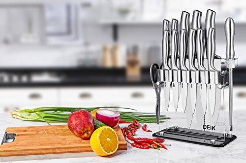 Deik Cuchillos Cocina  Juegos de Cuchillos de Acero Inoxidable con Soporte de Acrílico. Incluye 11 Cuchillos de Cocina  una Tijera  un Afilador y un Soporte de Acrílico
