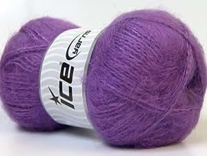 Laine pour tricot - Mohair - 5 mm / US 8 - Lavender - Lot de 4 pelotes - fnt2-24670