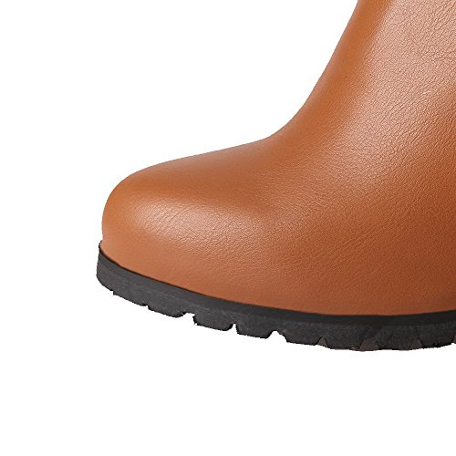 AllhqFashion Damen Reißverschluss Rund Zehe Hoher Absatz Hoch-Spitze Stiefel mit Metallisch Braun
