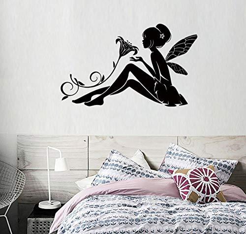 Wandaufkleber Kreative Diy Selbstklebende Papier Pvc Dekorative Schlafzimmer Wohnzimmer Kinderzimmer Blumenfee Lilien Aufkleber