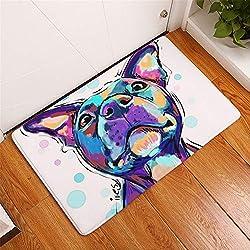 YYAANNGG Peinture à l'huile de Dessin Animalier Chien Violet Tapis de Salle de Bain Tapis de Porte Anti-dérapant Tapis de Salle de Bain pour Enfants Accessoires de Salle de Bain 50x80cm
