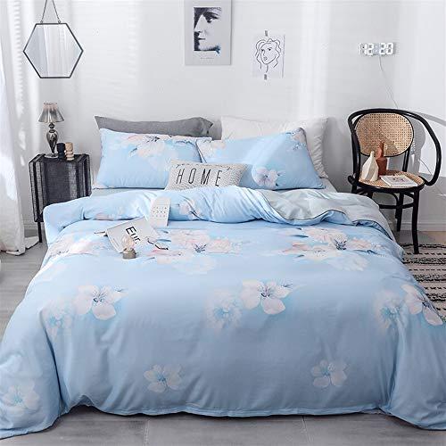 UOUL Laken Set Seide Tencel Bettwäsche 4 Stück Weiche Blume Rosa Blau Verblasst Nicht Komfort Männer Und Frauen Schlafzimmer Twin,Flower-Blue,King -