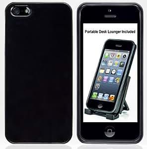 Apple iPhone 5 Noir Laqué flexible en TPU Housse Etui. Cadeau BONUS: G-HUB Desk-Lounger, Support de bureau réglable.
