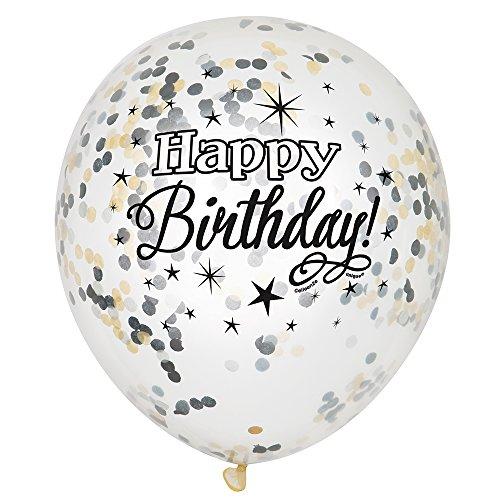 Folie silber glitzernden Konfetti zum Geburtstag Luftballons, 6Stück (Transparente Luftballons Kleine)