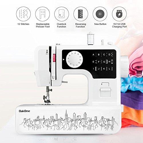 OAKOME Mini Máquina de Coser Automática Eléctrico de Doble Velocidad de Rosca Automática con Luz,Automatic Sewing Machine Eléctrico(Negro, negro)