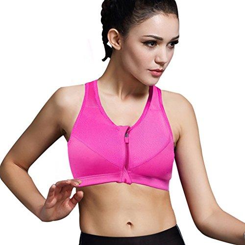 Minetom Femme Sexy Soutien Gorge de Sport Zip Fermeture Bra Lingerie Brassière Sans Armature Yoga Course Rose zip