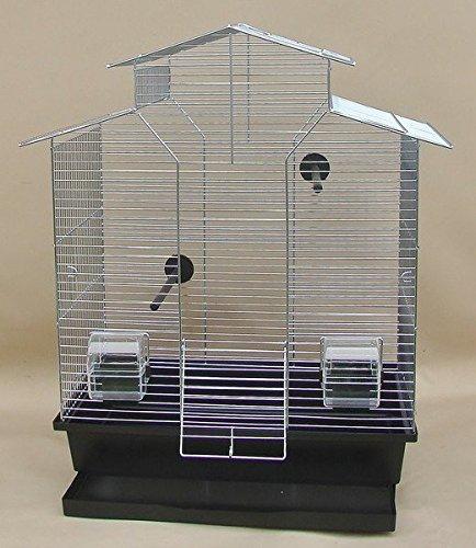 Vogelkäfig,Wellensittichkäfig,Exotenkäfig,60 cm Vogelkäfig Vogelbauer Wellensittich Kanarien Voliere Vogelhaus Käfig IZA 2 II in der Farbe schwarz