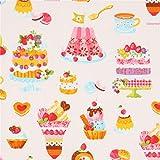 Cosmo Cremefarbener Stoff mit Pudding Kuchen Keksen