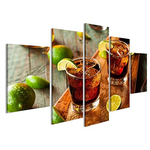 islandburner Bild Bilder auf Leinwand Rum und Cola Cuba Libre mit Limette und EIS Wandbild, Poster, Leinwandbild JLV