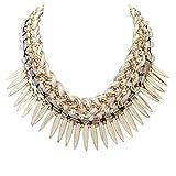 Epinki Damen Vergoldet Halskette, Hawaiikette Gewebt Kette mit Zirkonia Blätter Quaste Tassel Weiß