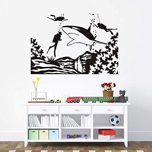 Luzhenyi Marine World Divers Wall Sticker Removable Waterproof Vinyl Home Decor Diy Sticker Mural 82X57Cm