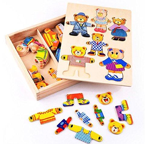 Spiele Dressup Familie (Holz Spielzeug Bär Familie Dress Up Spiel in Aufbewahrungsbox von Babyhugs)