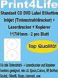 100 CD - DVD Labels - Etiketten - Aufkleber, selbstklebend; Hochweiß;117/41; Standard-Qualität