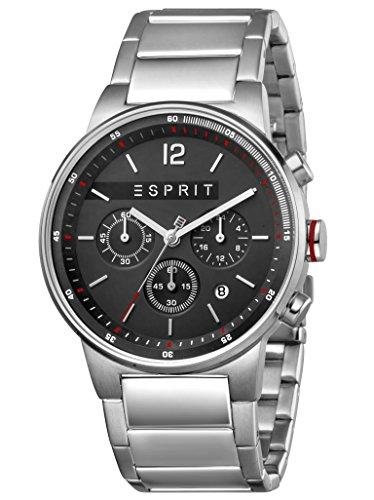 Esprit Herrenuhr Equalizer Black Silver MB Chronograph 10 Bar Analog Chrono Datum Edelstahl Silber ES-1G025M0065