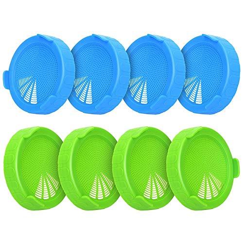 cuhawudba - set di 8 coperchi in plastica per bocche grandi, vasetti di germinazione, coperchio della crepina per barattoli - coltivare germi di fagioli, luzerne, ciprie di insalata, ecc.