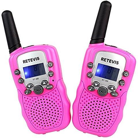 Retevis RT-388 Niños Walkie-talkie UHF 446MHz 8 Canales 0.5W con pantalla LCD y Linterna Incorporado Radio de Juguete Portátil y Aficionado (Rosa, 1