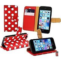 Emartbuy Premium PU Leder Desktop-Ständer Wallet Hülle Tasche Polka Dots mit Kreditkarte Slots für Apple iPhone SE–Rot/Weiß