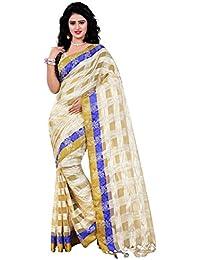Trendz Women's Cotton Silk Saree With Blouse Piece (Tz_Pratibha_Blue, Free Size)