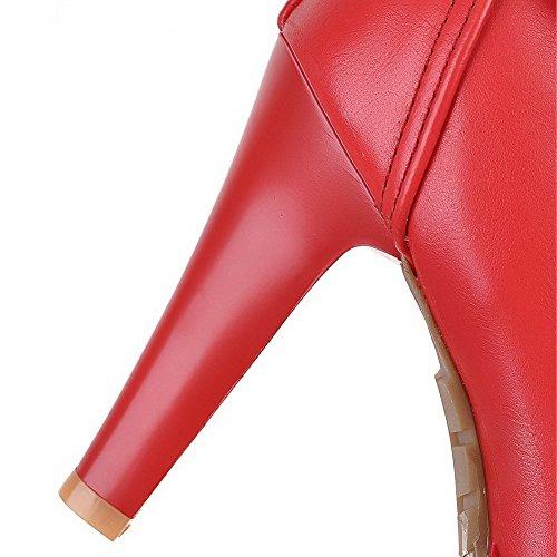 VogueZone009 Donna Luccichio Bassa Altezza Tacco Alto Puro Stivali Rosso