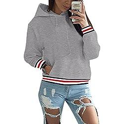 ZIOOER Damen Pulli Jacke Tops Kapuzenpullover Sweatshirts Hoodie Sport Oversize Outerwear Pullover Herbst&Winter Grau S