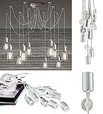 takestop® LAMPADARIO 12 pendenti LAMPADA ws ragno bianco SOFFITTO SOSPENSIONE LUCE REGOLABILI PENDENTE PORTALAMPADA MODERNO DESIGN E27