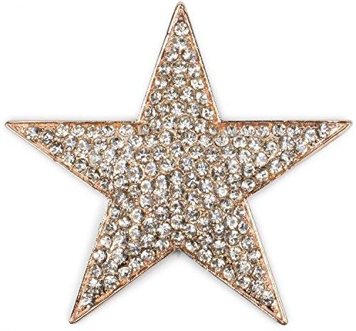 styleBREAKER Magnet Schmuck Anhänger Strass besetzt im Stern Design für Schals, Tücher oder Ponchos, Brosche, Damen 05050034, Farbe:Rosegold
