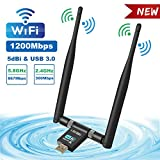 Cherish WLAN Stick WiFi Adapter, USB 3.0 WLAN Adapter,1200Mbit/s mit 5dBi Antenna für PC/Desktop/Laptop, WiFi Adapter Dualband 5G/867Mbps+2.4G/300Mbps, Unterstützung Windows XP/Vista/7/8/10 Mac OS