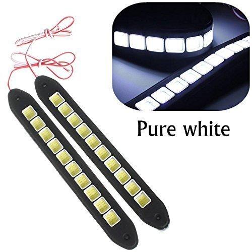 Eximtrade 2 Stücke Wasserdicht Flexibel Silikon Licht 16W 4000LM COB LED DRL Tageslicht Fahren Tagfahrlicht DRL Lampe für Auto SUV Sedan Limousine Coupe Fahrzeug (Weiß) (2-licht 16)