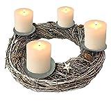 Mojawo Adventskranz Holz rund Ø40cm Grau Advent Kerzenständer geschmückt mit Dorn Weihnachtsdeko Weidenkranz Weihnachten Kranz