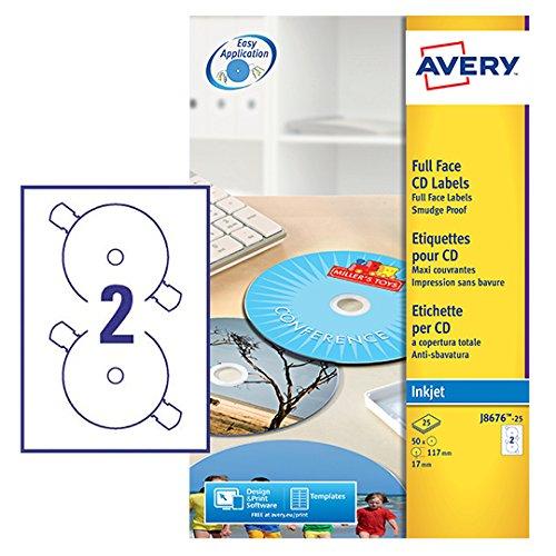 Avery CD-Etiketten vollflächig schnelltrocknend für Tintenstrahldrucker (Cd-cover-etiketten)