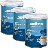 Lavazza Kaffee DEK, Decaf Espresso, Entkoffeinierter Bohnenkaffee Gemahlen, Dose, 3 x 250g