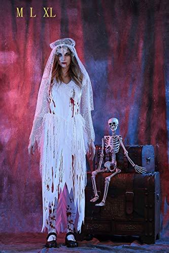 Ruanyi Spitze Seite Gaze Geist Brautkleid Weibliche Halloween Cosplay Kostüm Spiel Uniform für Frauen (Size : XXL) -
