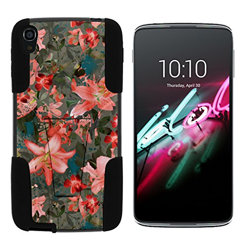Alcatel OneTouch Idol 3 Fall (14 cm) [Gel Max Cover] Dual Layer Hybrid Silikon Hard Shell Schutzhülle Ständer Cool Designs von turtlearmor -, Captivating Pink Floral - Touch Camo One Alcatel