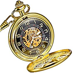 Mudder Golden Skeleton Mens Hand Winding Mechanical Pocket Watch
