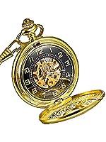 Mudder Golden Skeleton Mens Hand Winding Mechanical Pocket Watch