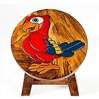 Robuster Kinderhocker/Kinderstuhl massiv aus Holz mit Tiermotiv Papagei, 25 cm Sitzhöhe preisvergleich bei kinderzimmerdekopreise.eu