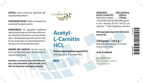 Vita World Acetyl-L-Carnitin HCL 1000mg pro Kapsel 120 Kapseln hohe Bioverfügbarkeit Apotheker-Herstellung