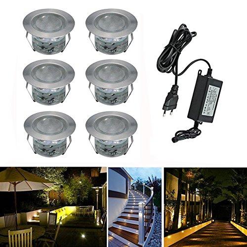Deckenmontage-wärme-lampe (LED Bodeneinbaustrahler 6er Set Ø45mm 1W Terrassen Einbaustrahler Aussen 12V IP67 Wasserdicht Garten Terrassenstrahler Licht, Warmes Weiß)
