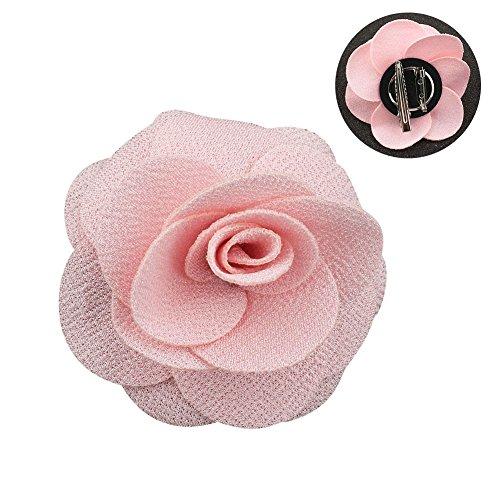 Soleebee NS001B Ansteckblumen Herren Handgefertigt Revers Pin Blume Set Revers Krawatte Brosche Kamelie Boutonniere für Anzug mit Clip (Rosa)