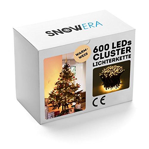 SnowEra 600er LED Galaxy Lichterkette / Weihnachtslichterkette für innen & außen mit Timer und Dimmfunktion - Lichtfarbe: warm weiß - Form: Cluster Lichterkette