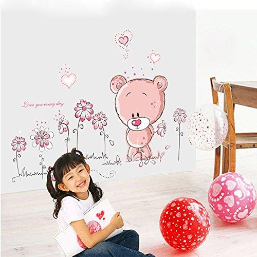 Für Mädchen Wandbilder (ufengke® Niedliche Bären Schönen Blumen Wandsticker, Kinderzimmer Babyzimmer Entfernbare Wandtattoos Wandbilder)