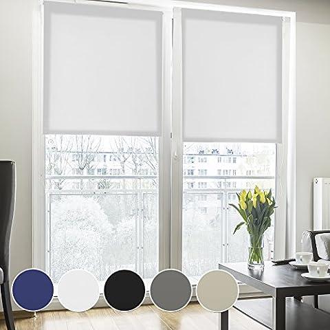 Fensterrollo lichtdurchlässig | Klemmfix ohne Bohren | Rollo für kleine und große Fenster und Türen | Sichtschutzrollo in vielen Farben und Größen ( Weiß, 60 cm breit, 150 cm lang )