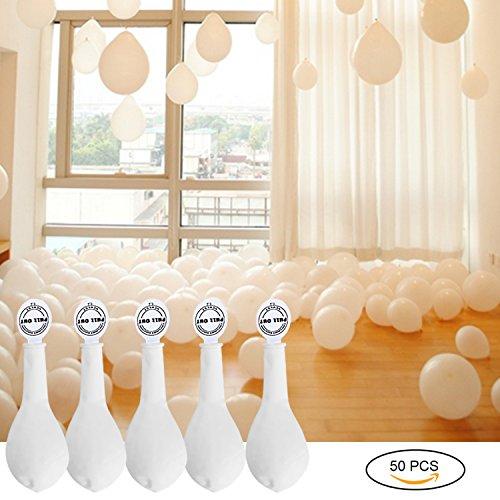 YOHOOLYO 50 x Palloncini LED Palloncini Luminosi Palloncini Bianchi Luce Led Bianca per Matrimoni Festa Compleanno ecc - Bianco