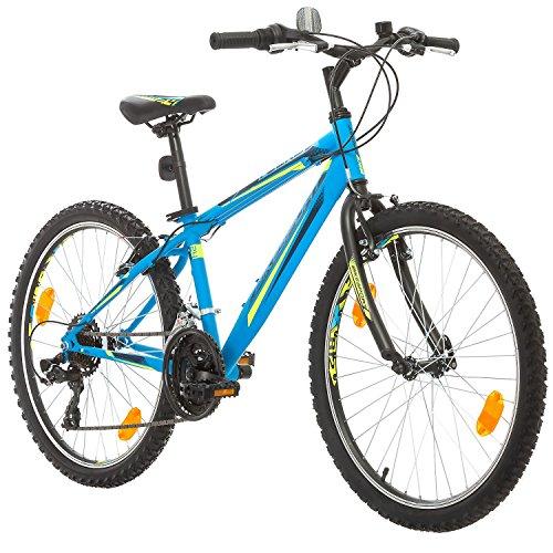 BIKE SPORT LIVE ACTIVE 24 Zoll Bikesport Rocky Kindefahrrad, Shimano 18 Gang (Blau matt)