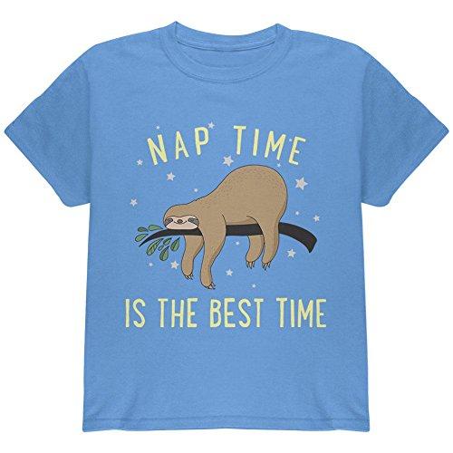 Old Glory Faultier Nap Zeit ist Die Beste Jugend T-Shirt Carolina Blue YMD (T-shirt Zeit Jugend)