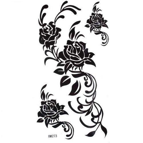 Black rose tempoary tatouage mode étanche sexy