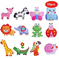Lukasa Wooden Shapes Puzzle Jigsaw for Kids Age 3+ Years Old Sorting and Stacking Games Animals Insects Patterns Preschool Montessori Educational for Toddlers Boys Girls 12 Pack